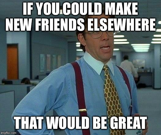 That Would Be Great Meme | IF YOU COULD MAKE NEW FRIENDS ELSEWHERE THAT WOULD BE GREAT | image tagged in memes,that would be great | made w/ Imgflip meme maker