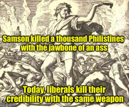 This was a comment to another meme.  It got more up votes than most of my submissions so I thought I'd submit it. | Samson killed a thousand Philistines with the jawbone of an ass Today, liberals kill their credibility with the same weapon | image tagged in memes,just kidding,liberals,bible,ass | made w/ Imgflip meme maker