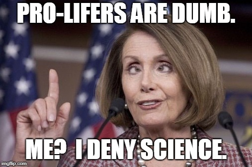 Nancy pelosi | PRO-LIFERS ARE DUMB. ME?  I DENY SCIENCE. | image tagged in nancy pelosi | made w/ Imgflip meme maker