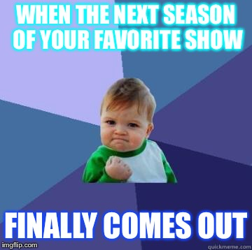 success kid | WHEN THE NEXT SEASON OF YOUR FAVORITE SHOW FINALLY COMES OUT | image tagged in success kid | made w/ Imgflip meme maker