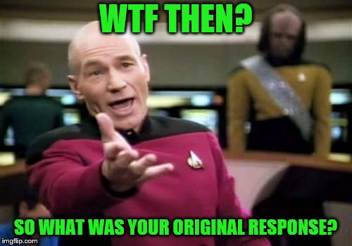 Picard Wtf Meme | WTF THEN? SO WHAT WAS YOUR ORIGINAL RESPONSE? | image tagged in memes,picard wtf | made w/ Imgflip meme maker
