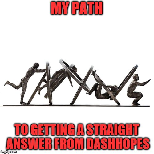 MY PATH TO GETTING A STRAIGHT ANSWER FROM DASHHOPES | made w/ Imgflip meme maker