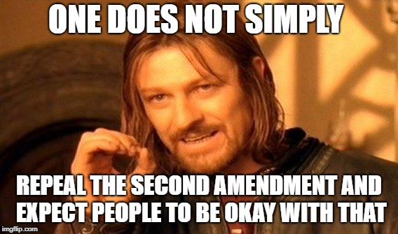 One Does Not Simply Meme | ONE DOES NOT SIMPLY REPEAL THE SECOND AMENDMENT AND EXPECT PEOPLE TO BE OKAY WITH THAT | image tagged in memes,one does not simply | made w/ Imgflip meme maker