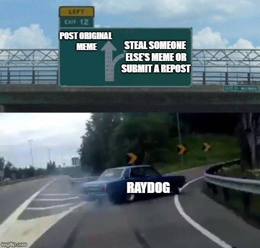 POST ORIGINAL MEME RAYDOG STEAL SOMEONE ELSE'S MEME OR SUBMIT A REPOST | image tagged in swerving car | made w/ Imgflip meme maker