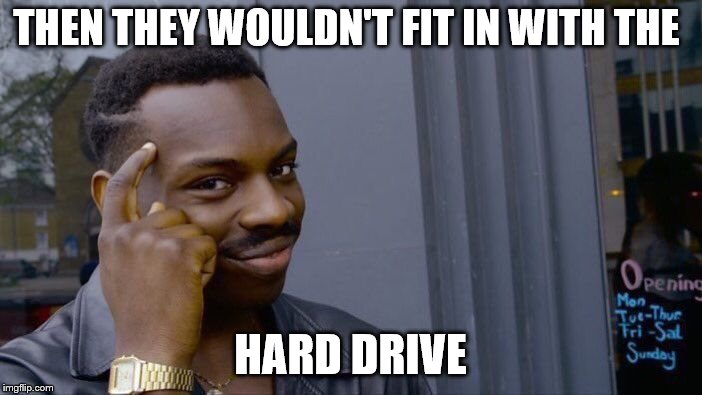 Roll Safe Think About It Meme | THEN THEY WOULDN'T FIT IN WITH THE HARD DRIVE | image tagged in memes,roll safe think about it | made w/ Imgflip meme maker