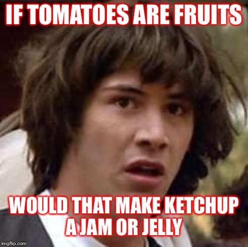 Conspiracy Keanu Meme | IF TOMATOES ARE FRUITS WOULD THAT MAKE KETCHUP A JAM OR JELLY | image tagged in memes,conspiracy keanu | made w/ Imgflip meme maker