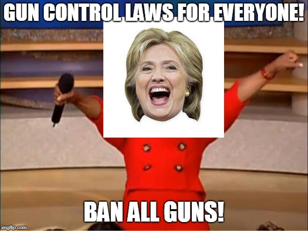 Gun Control Oprah | GUN CONTROL LAWS FOR EVERYONE! BAN ALL GUNS! | image tagged in memes,oprah you get a,gun control,hillary clinton,hillary,hillary clinton 2016 | made w/ Imgflip meme maker
