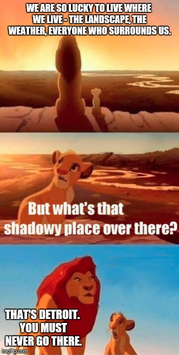 Simba Shadowy Place Meme | WE ARE SO LUCKY TO LIVE WHERE WE LIVE - THE LANDSCAPE, THE WEATHER, EVERYONE WHO SURROUNDS US. THAT'S DETROIT. YOU MUST NEVER GO THERE. | image tagged in memes,simba shadowy place | made w/ Imgflip meme maker