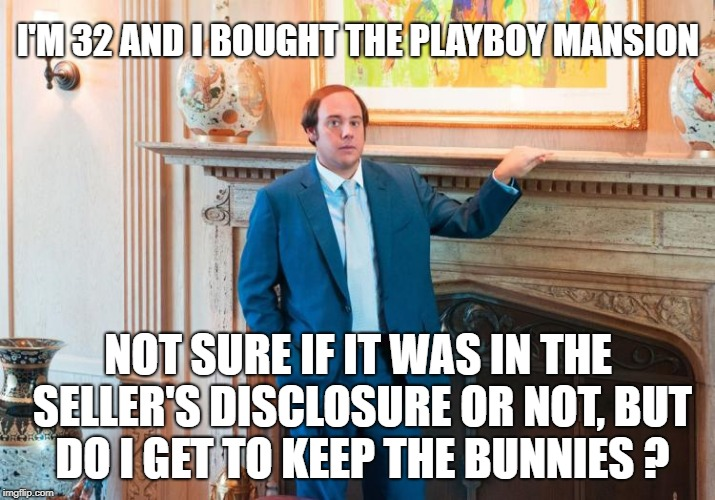I'M 32 AND I BOUGHT THE PLAYBOY MANSION NOT SURE IF IT WAS IN THE SELLER'S DISCLOSURE OR NOT, BUT DO I GET TO KEEP THE BUNNIES ? | made w/ Imgflip meme maker