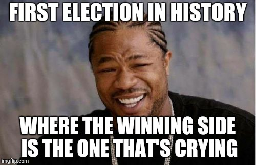 Yo Dawg Heard You Meme | FIRST ELECTION IN HISTORY WHERE THE WINNING SIDE IS THE ONE THAT'S CRYING | image tagged in memes,yo dawg heard you | made w/ Imgflip meme maker