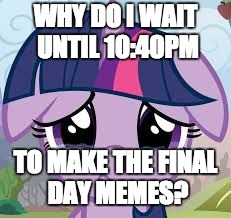 I need help with my timing of my memes! | WHY DO I WAIT UNTIL 10:40PM TO MAKE THE FINAL DAY MEMES? | image tagged in sad twilight,memes,my little pony meme week,xanderbrony | made w/ Imgflip meme maker