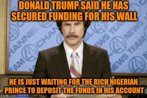 Ron Burgundy Meme | DONALD TRUMP SAID HE HAS SECURED FUNDING FOR HIS WALL HE IS JUST WAITING FOR THE RICH NIGERIAN PRINCE TO DEPOSIT THE FUNDS IN HIS ACCOUNT | image tagged in memes,ron burgundy | made w/ Imgflip meme maker