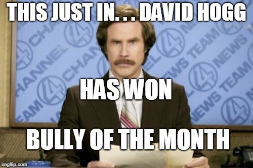 Ron Burgundy Meme | THIS JUST IN. . . DAVID HOGG BULLY OF THE MONTH HAS WON | image tagged in memes,ron burgundy | made w/ Imgflip meme maker