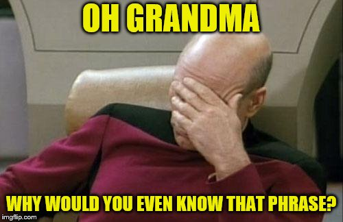 Captain Picard Facepalm Meme | OH GRANDMA WHY WOULD YOU EVEN KNOW THAT PHRASE? | image tagged in memes,captain picard facepalm | made w/ Imgflip meme maker