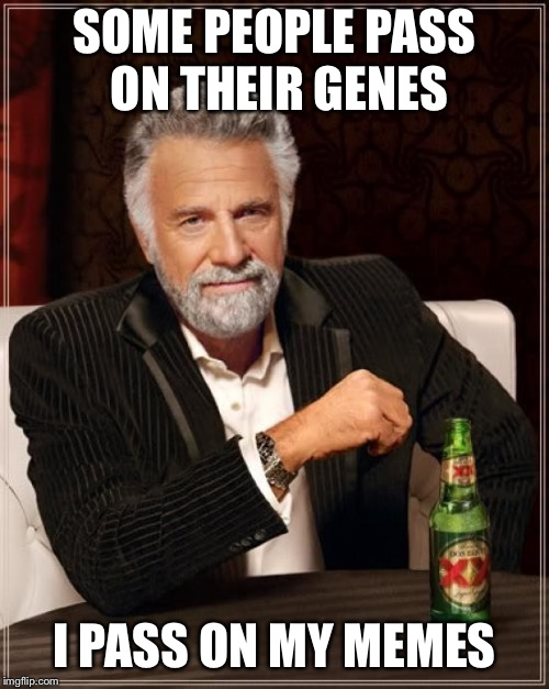 The Most Interesting Man In The World Meme | SOME PEOPLE PASS ON THEIR GENES I PASS ON MY MEMES | image tagged in memes,the most interesting man in the world | made w/ Imgflip meme maker
