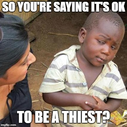 SO YOU'RE SAYING IT'S OK TO BE A THIEST? | image tagged in memes,third world skeptical kid | made w/ Imgflip meme maker