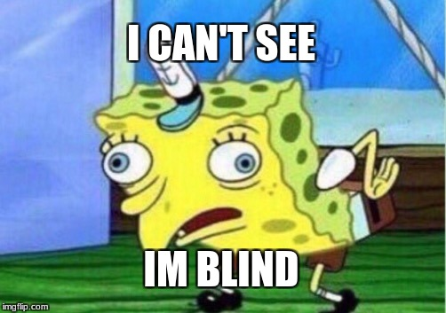 Mocking Spongebob Meme | I CAN'T SEE IM BLIND | image tagged in memes,mocking spongebob | made w/ Imgflip meme maker