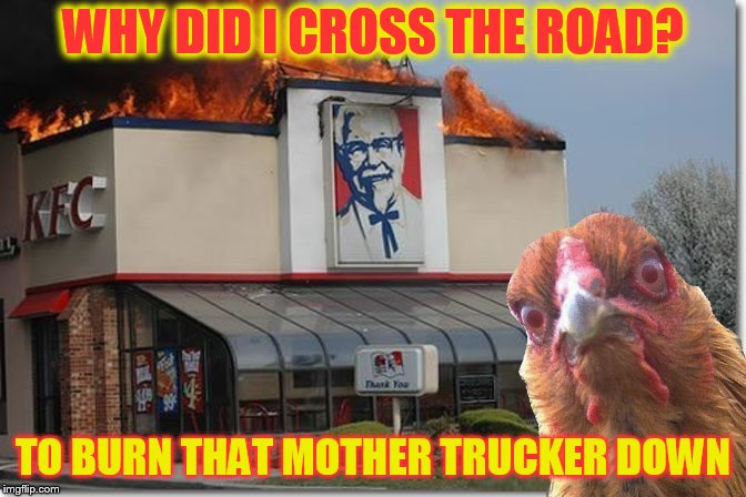 Chicken Week, April 2-8, A JBmemegeek & giveuahint Event!  | WHY DID I CROSS THE ROAD? TO BURN THAT MOTHER TRUCKER DOWN | image tagged in memes,chicken week,chickens,kfc,chicken,disaster chicken | made w/ Imgflip meme maker