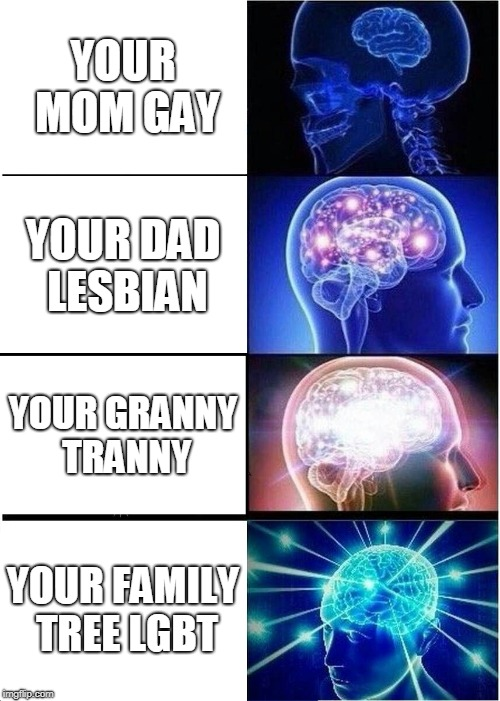 Expanding Brain | YOUR MOM GAY YOUR DAD LESBIAN YOUR GRANNY TRANNY YOUR FAMILY TREE LGBT | image tagged in memes,expanding brain | made w/ Imgflip meme maker