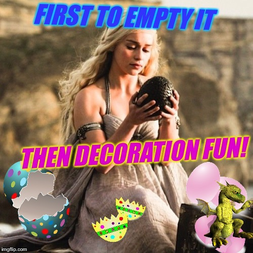 * It's not easy being Khaleesi * Bad Photoshop Ishtar Sunday, a btbeeston Event! | image tagged in khaleesi,game of thrones,bad photoshop sunday,easter bunny,dragon,eggs | made w/ Imgflip meme maker