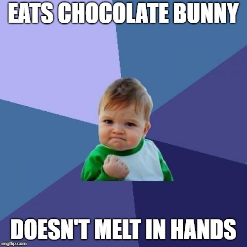 EATS CHOCOLATE BUNNY DOESN'T MELT IN HANDS | image tagged in memes,success kid | made w/ Imgflip meme maker