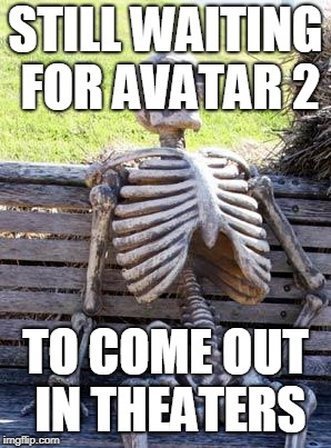 Waiting Skeleton Meme | STILL WAITING FOR AVATAR 2 TO COME OUT IN THEATERS | image tagged in memes,waiting skeleton | made w/ Imgflip meme maker