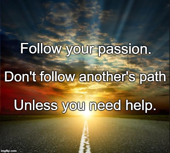 Follow your passion. Unless you need help. Don't follow another's path | image tagged in dream big | made w/ Imgflip meme maker