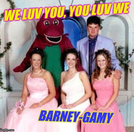 Polygamy is just wrong, you shouldn't mix Greek and Latin roots! :-) | I | image tagged in barney the dinosaur,polygamy,wedding crashers,funny,memes,lizard | made w/ Imgflip meme maker