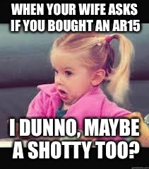 Little girl Dunno | WHEN YOUR WIFE ASKS IF YOU BOUGHT AN AR15 I DUNNO, MAYBE A SHOTTY TOO? | image tagged in little girl dunno | made w/ Imgflip meme maker