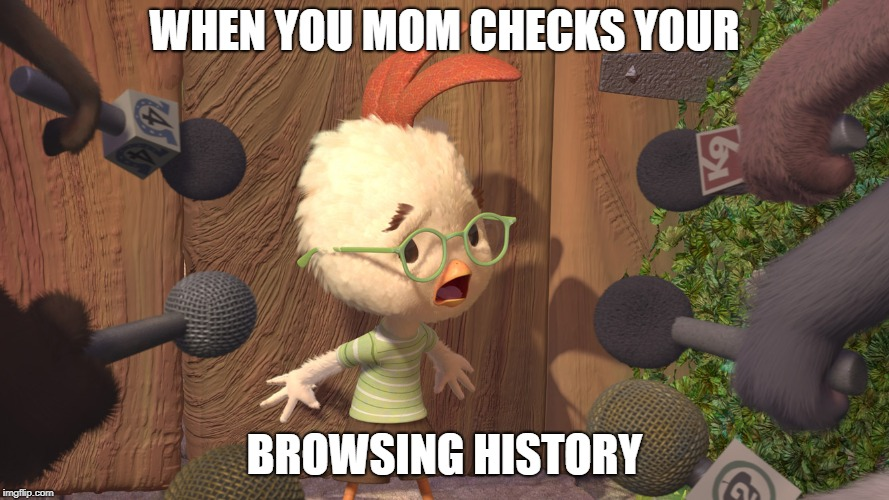 Chicken Little | WHEN YOU MOM CHECKS YOUR BROWSING HISTORY | image tagged in chicken little | made w/ Imgflip meme maker