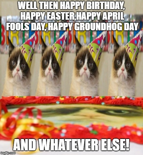 WELL THEN HAPPY BIRTHDAY, HAPPY EASTER,HAPPY APRIL FOOLS DAY, HAPPY GROUNDHOG DAY AND WHATEVER ELSE! | made w/ Imgflip meme maker