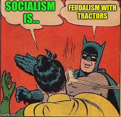 To the enamoured youth of today | SOCIALISM IS... FEUDALISM WITH TRACTORS | image tagged in memes,batman slapping robin | made w/ Imgflip meme maker