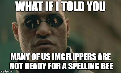 Matrix Morpheus Meme | WHAT IF I TOLD YOU MANY OF US IMGFLIPPERS ARE NOT READY FOR A SPELLING BEE | image tagged in memes,matrix morpheus | made w/ Imgflip meme maker