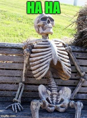 Waiting Skeleton Meme | HA HA | image tagged in memes,waiting skeleton | made w/ Imgflip meme maker