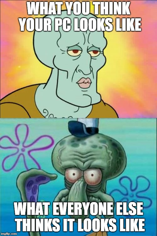 Squidward Meme | WHAT YOU THINK YOUR PC LOOKS LIKE WHAT EVERYONE ELSE THINKS IT LOOKS LIKE | image tagged in memes,squidward | made w/ Imgflip meme maker