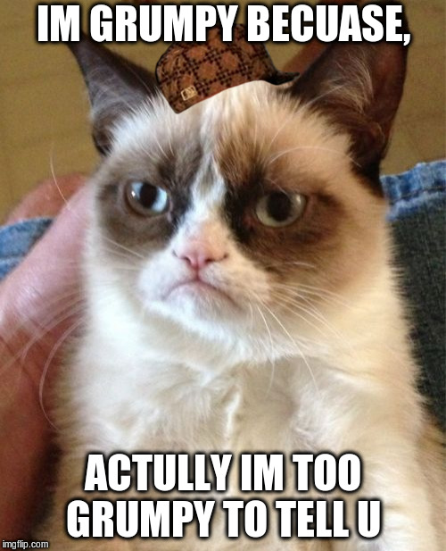 Grumpy Cat Meme | IM GRUMPY BECUASE, ACTULLY IM TOO GRUMPY TO TELL U | image tagged in memes,grumpy cat,scumbag | made w/ Imgflip meme maker