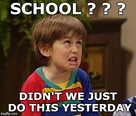 Mutant spawn of the Snowflakes - part 3 | SCHOOL ? ? ? DIDN'T WE JUST DO THIS YESTERDAY | image tagged in wtf kid,snowflakes,children,none,responsibility | made w/ Imgflip meme maker
