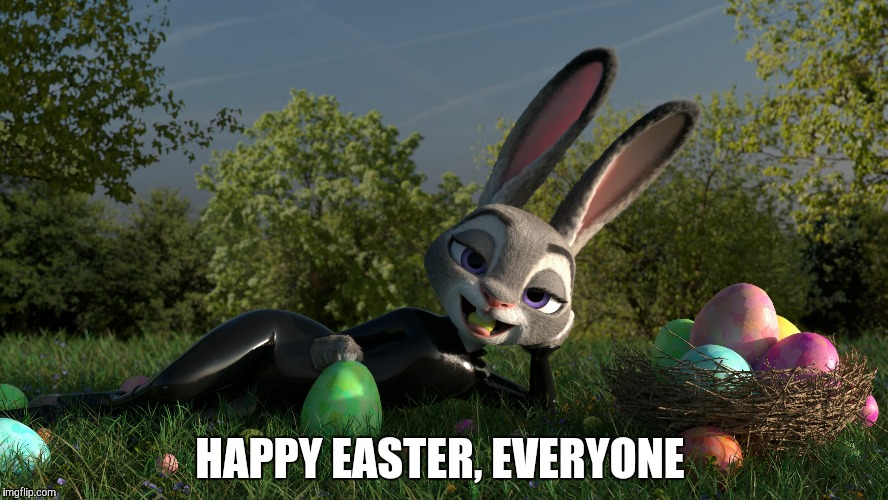 Zootopia Easter Surprise  | HAPPY EASTER, EVERYONE | image tagged in easter judy hopps,zootopia,judy hopps,easter,easter bunny,memes | made w/ Imgflip meme maker