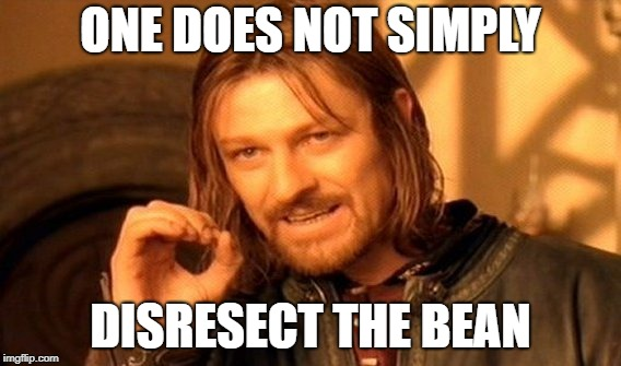 One Does Not Simply Meme | ONE DOES NOT SIMPLY DISRESECT THE BEAN | image tagged in memes,one does not simply | made w/ Imgflip meme maker