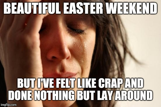 First World Problems Meme | BEAUTIFUL EASTER WEEKEND BUT I'VE FELT LIKE CRAP AND DONE NOTHING BUT LAY AROUND | image tagged in memes,first world problems | made w/ Imgflip meme maker