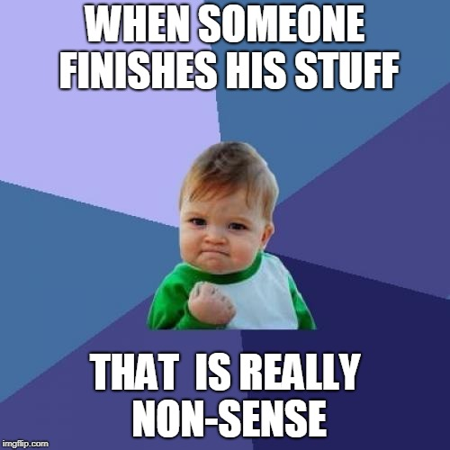Success Kid Meme | WHEN SOMEONE FINISHES HIS STUFF THAT  IS REALLY NON-SENSE | image tagged in memes,success kid | made w/ Imgflip meme maker