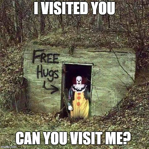 I'm lonely  | I VISITED YOU CAN YOU VISIT ME? | image tagged in hugging pennywise,meme | made w/ Imgflip meme maker