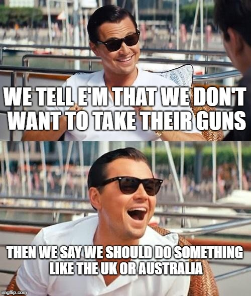 Leonardo Dicaprio Wolf Of Wall Street Meme | WE TELL E'M THAT WE DON'T WANT TO TAKE THEIR GUNS THEN WE SAY WE SHOULD DO SOMETHING LIKE THE UK OR AUSTRALIA | image tagged in memes,leonardo dicaprio wolf of wall street | made w/ Imgflip meme maker