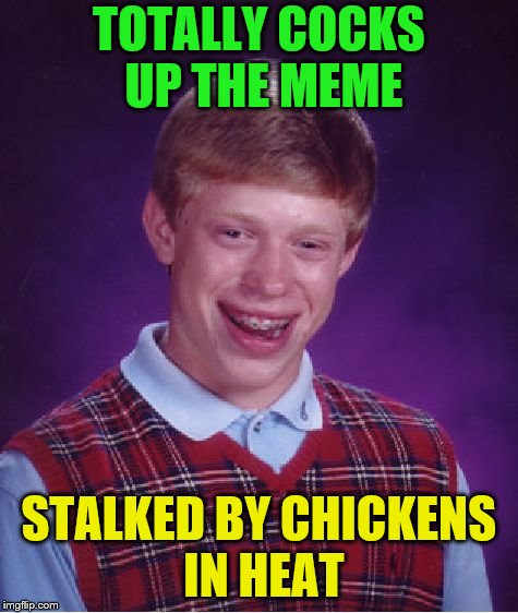 Bad Luck Brian Meme | TOTALLY COCKS UP THE MEME STALKED BY CHICKENS IN HEAT | image tagged in memes,bad luck brian | made w/ Imgflip meme maker