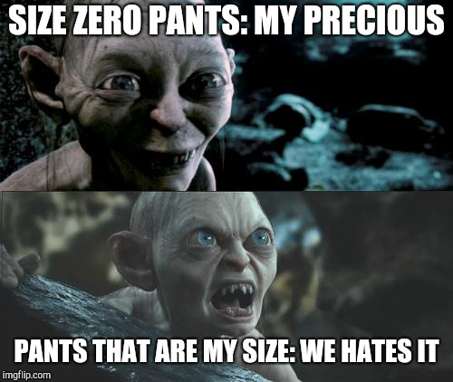 Woman who hates shopping for pants | SIZE ZERO PANTS: MY PRECIOUS PANTS THAT ARE MY SIZE: WE HATES IT | image tagged in gollum schizophrenia,dieting,gollum | made w/ Imgflip meme maker