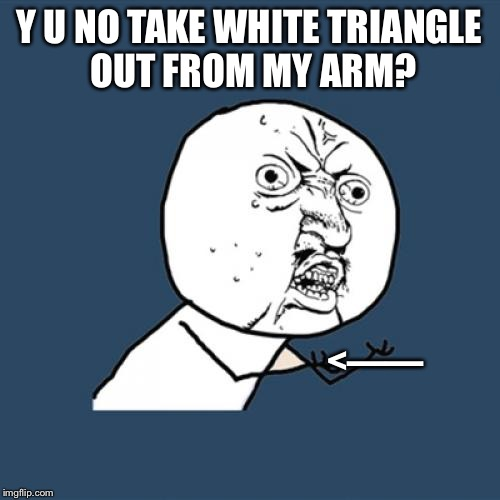 I not correct | Y U NO TAKE WHITE TRIANGLE OUT FROM MY ARM? <—— | image tagged in memes,y u no,arm a dillo,dilly silly dollop | made w/ Imgflip meme maker
