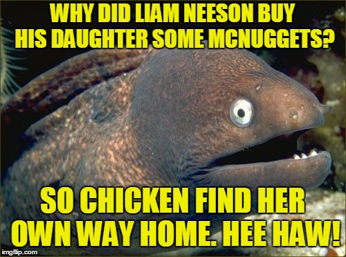 WHY DID LIAM NEESON BUY HIS DAUGHTER SOME MCNUGGETS? SO CHICKEN FIND HER OWN WAY HOME. HEE HAW! | made w/ Imgflip meme maker
