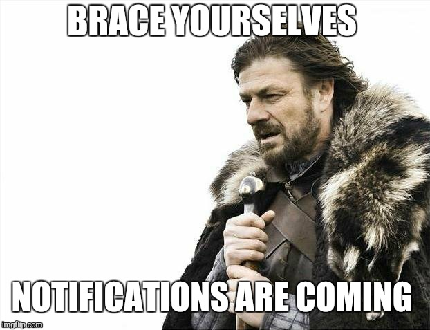 Brace Yourselves X is Coming Meme | BRACE YOURSELVES NOTIFICATIONS ARE COMING | image tagged in memes,brace yourselves x is coming | made w/ Imgflip meme maker