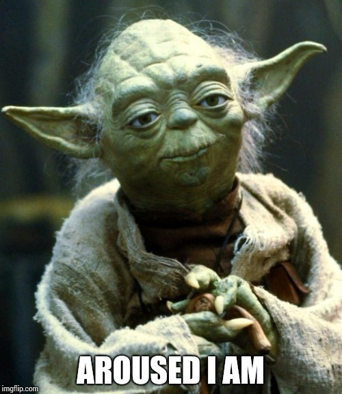 AROUSED I AM | image tagged in memes,star wars yoda | made w/ Imgflip meme maker