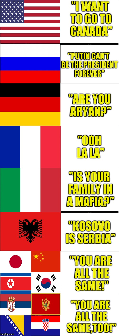 "How to trigger people based on their nationality | ""I WANT TO GO TO CANADA"" ""PUTIN CAN'T BE THE PRESIDENT FOREVER"" ""ARE YOU ARYAN?"" ""OOH LA LA"" ""IS YOUR FAMILY IN A MAFIA?"" ""KOSOVO IS SERBIA"" 